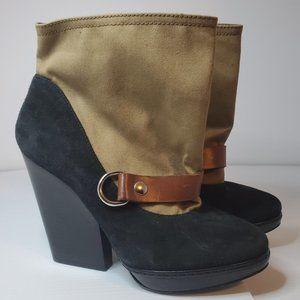Dries Van Noten round toe canvas trim ankle boots